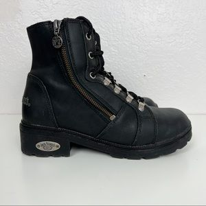 Jack Daniels Lace Up Zip Combat Moto Boots Black Leather Womens Size 8.5